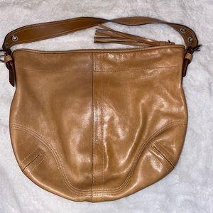 Camel Tone Leather Coach Bag